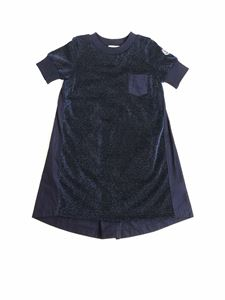 Moncler Jr - Blue dress with logo detail
