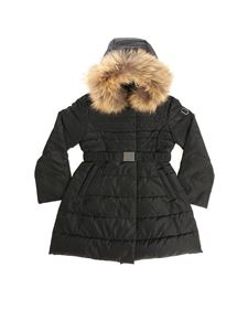 Monnalisa - Black down jacket with logo and fur insert