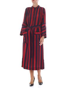 "Joseph - Blue and red striped ""Chester"" silk dress"