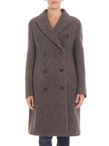 Aspesi - Double-breasted coat in brown and beige tweed