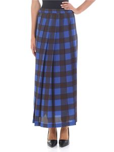Aspesi - Blue pleated tartan silk skirt