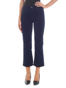 "MOTHER - ""Outsider Crop"" blue velvet trousers"