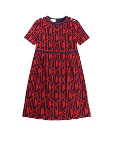 Gucci - Red dress with all-over logo embroidery