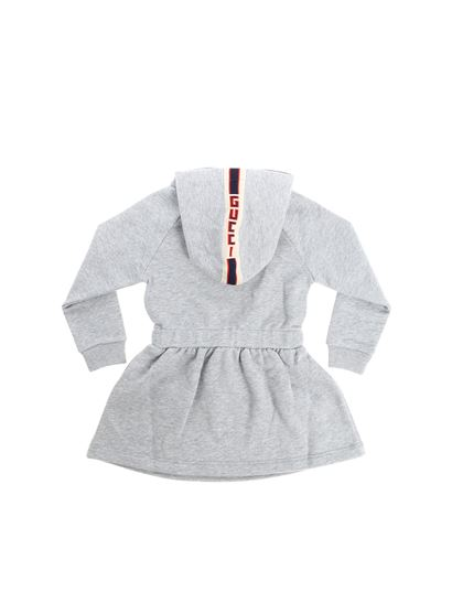 Gucci - Gray dress with branded bow detail