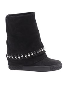 "Casadei - Black suede boots with ""Chain"" motif"