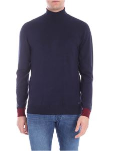 Trussardi Jeans - Blue turtleneck with burgundy details