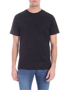 Colmar - Black t-shirt with all-over logo print