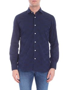Barba - Cotton shirt in shades of blue and black