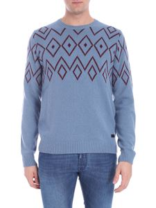 Trussardi Jeans - Light blue pullover with red pattern