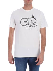 CP Company - Cream color t-shirt with logo