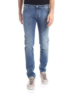 Jacob Cohën - 5 pockets blue jeans with green logo
