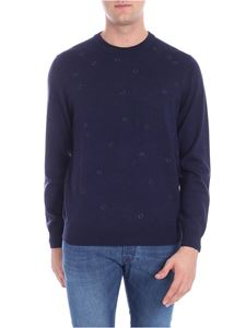 PS by Paul Smith - Blue melange pullover with embroidery