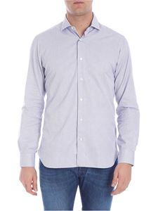 Barba - White shirt with blue checked pattern