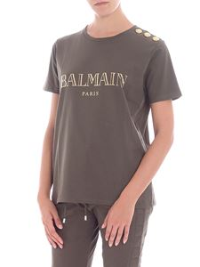 Balmain - Army green t-shirt with logo