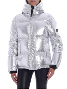 Kenzo - Silver laminated down jacket with logo