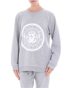 Balmain - Grey sweatshirt with white flock print