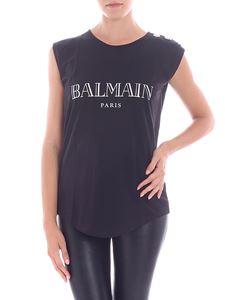 Balmain - Black top with silver iridescent logo print