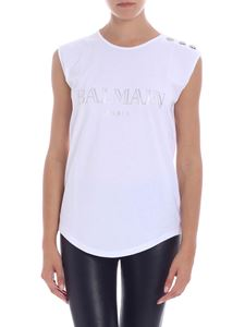 Balmain - White top with iridescent logo print