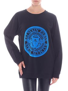 Balmain - Black and blue flock printed sweatshirt