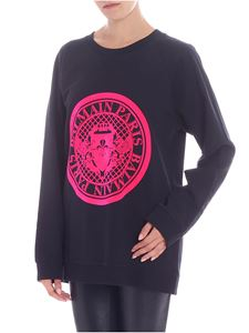 Balmain - Black flock printed sweatshirt