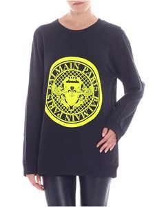 Balmain - Neon yellow flock printed sweatshirt