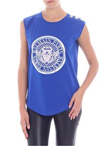 Balmain - Electric blue top with silver logo print