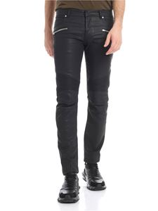 Balmain - Black coated effect jeans
