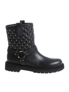 Valentino - Black ankle boots with golden metal studs