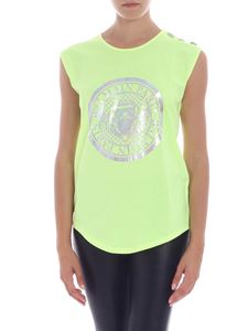 Balmain - Neon yellow top with silver logo print