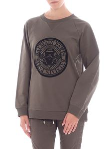 Balmain - Army green sweatshirt with black flock print
