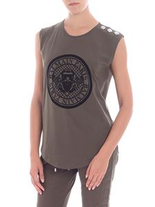 Balmain - Army green top with black flock print