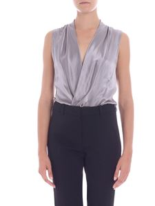 L'Autre Chose - Pearly grey silk wrap body