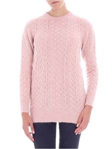 Blugirl - Pink knitted pullover with lamé insert
