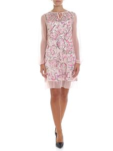 Blugirl - Pink mesh dress with sequined inserts