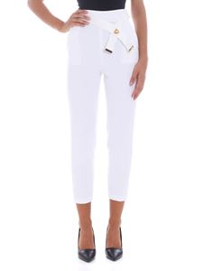 Elisabetta Franchi - Ivory trousers with logo details