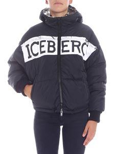 Iceberg - Black crop down jacket with logo