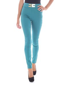Elisabetta Franchi Jeans - Turquoise jeggings with golden logo