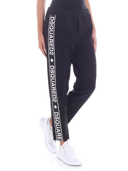 Dsquared2 - Black pants with branded stripes