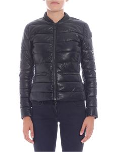 Save the duck - Black eco-leather quilted jacket