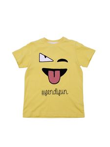 Fendi Jr - Yellow jersey T-shirt with logo embroidery