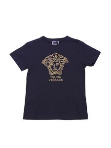 Versace Young - Black crewneck t-shirt with logo