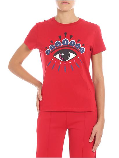 Kenzo - Red T-shirt with multicolor eye print
