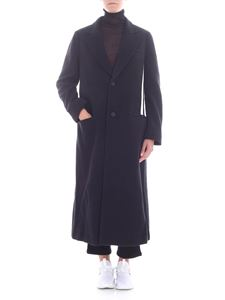 Y-3 Yohji Yamamoto - Black single button coat with logo