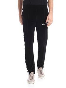 Palm Angels - Black chenille pants with white details