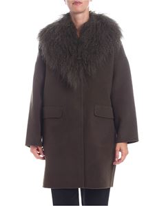 Parosh - Army green coat with fur insert
