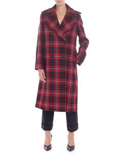 Dondup - Double-breasted red tartan coat