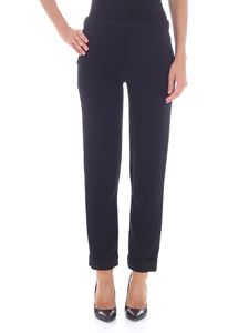 Parosh - Black trousers with turned-up bottom