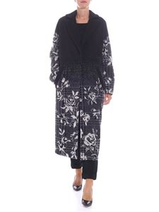 Blugirl - Long black coat with embroidered roses