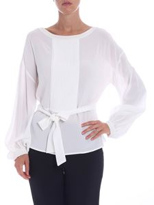 L'Autre Chose - White blouse with pleated insert