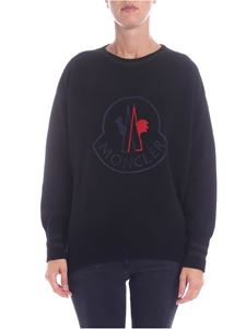 Moncler - Black pullover with logo embroidery